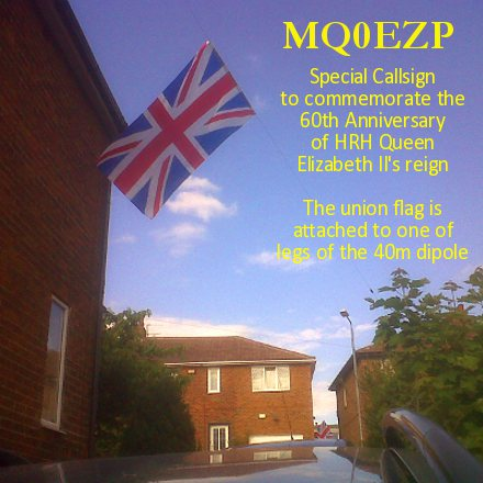 MQ0EZP Special Callsign to commemorate the 60th anniversary of the reign of HRH Queen Elizabeth II - Union flag hanging from one leg of the 40 meter dipole